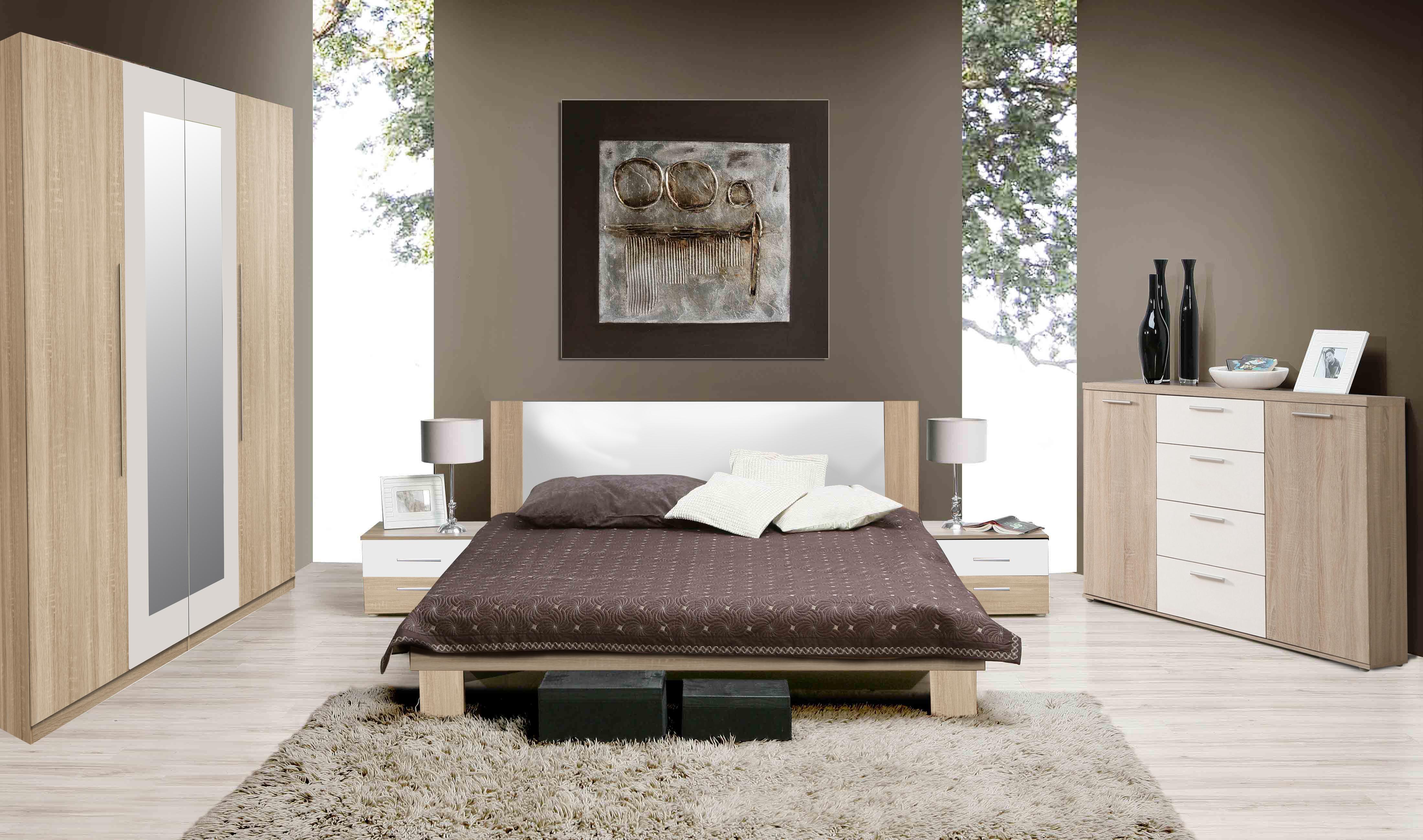 Forte HELEN, ložnice komplet, dub sonoma/bílá