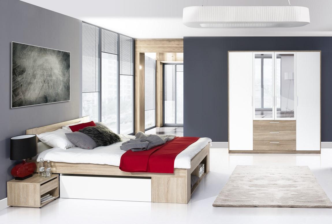 Ložnice LANAI, dub sonoma/bílá (postel 140+noční stolky+skříň)