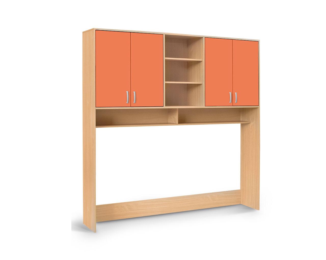 MATIS BAMBI, nástavec nad postel, buk/oranžová