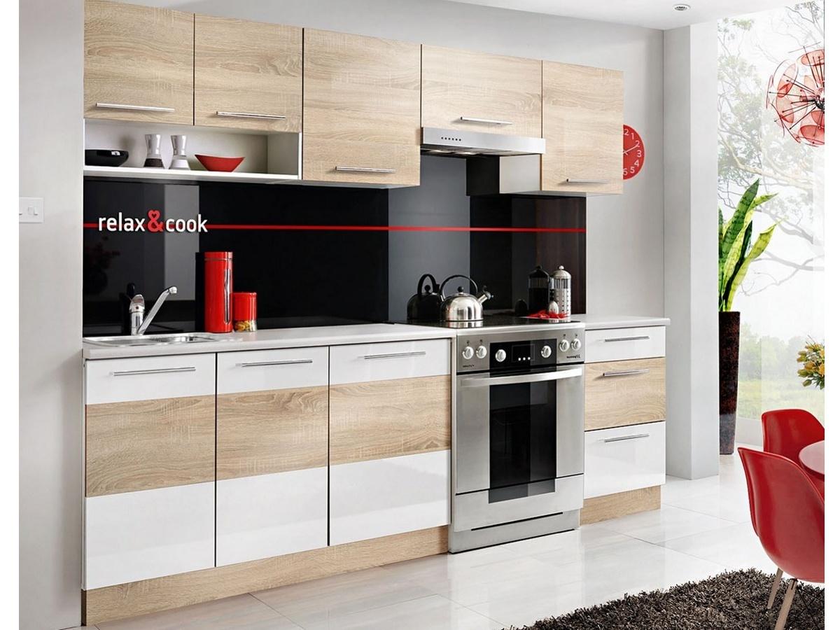 Smartshop Kuchyně RELAX 180/240 cm, dub sonoma/bílý lesk