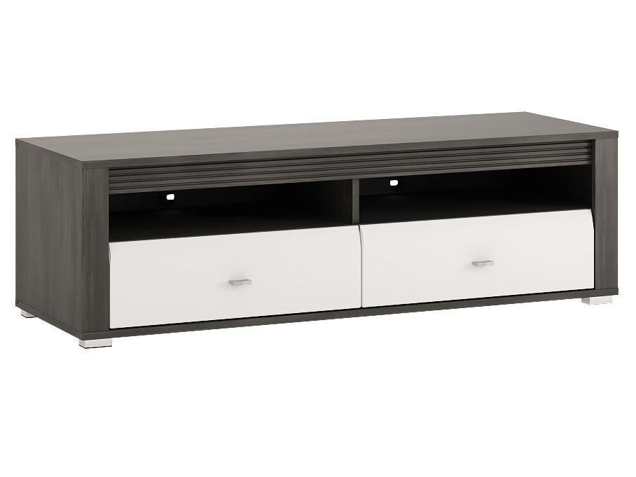 Extom SEVILLA, RTV stolek 2S, norská borovice černá/bílý lesk