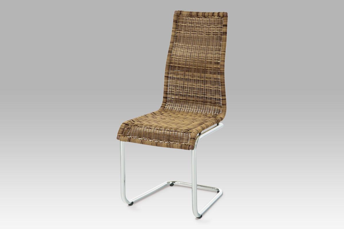 Autronic Jídelní židle chrom / UMĚLÝ ratan hnědý melír, SF-832 TRI