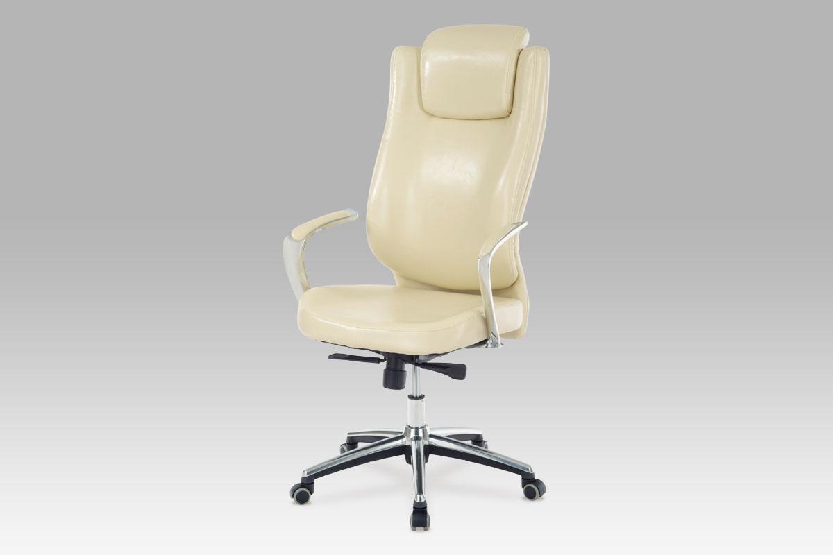 Autronic Kancelářská židle, koženka krémová, KA-H028 CRM