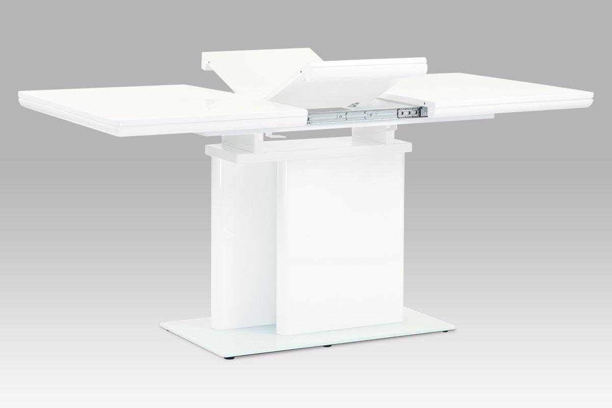 Smartshop Jídelní stůl rozkládací 120+40x80, vysoký lesk bílý, SHT-655 WT