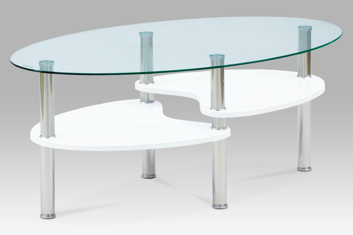Autronic Konferenční stolek 100x60x42, čiré sklo / vysoký lesk bílý, AF-2007 WT2