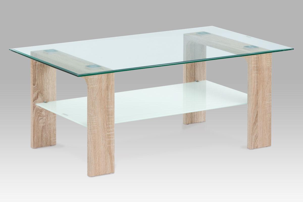 Autronic Konferenční stolek 110x65x45, čiré sklo / sonoma, AF-2037 SON