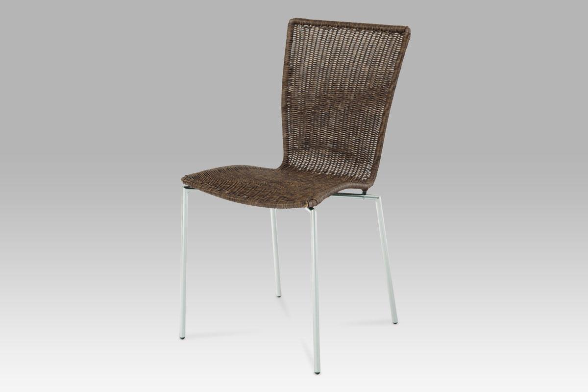 Autronic Jídelní židle chrom / UMĚLÝ ratan tmavě hnědý, SF-889 WAL