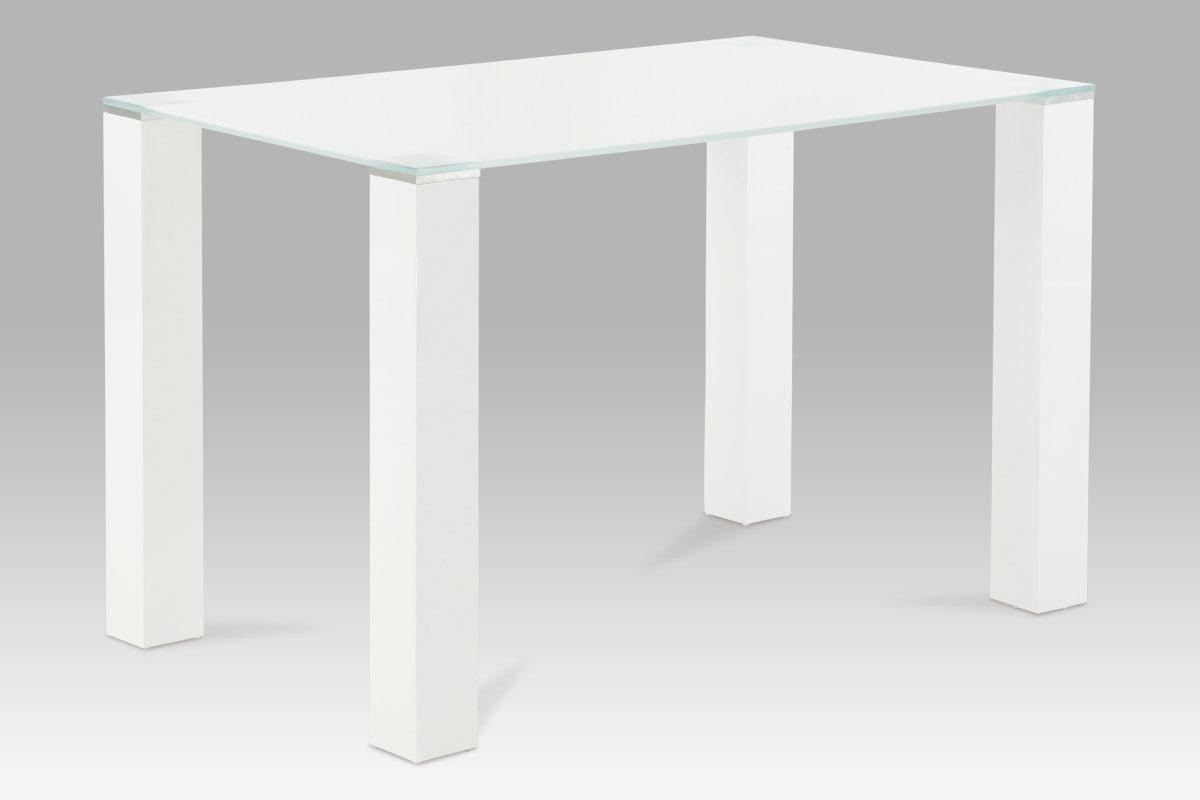 Smartshop Jídelní stůl 120x75, bílé sklo / vysoký lesk bílý, SAT-1055 WT