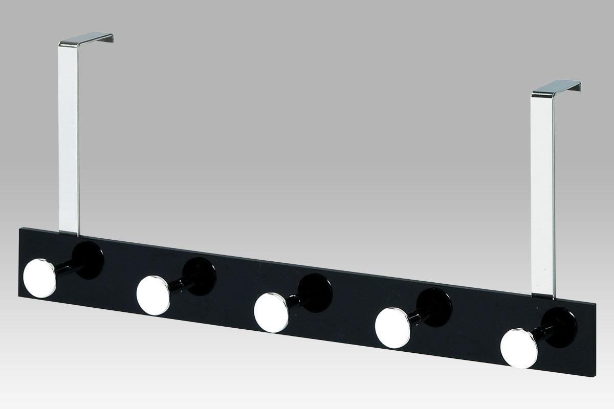 Smartshop Věšák na dveře - 5 háčků, chrom/černá, VGC2480-5 BK