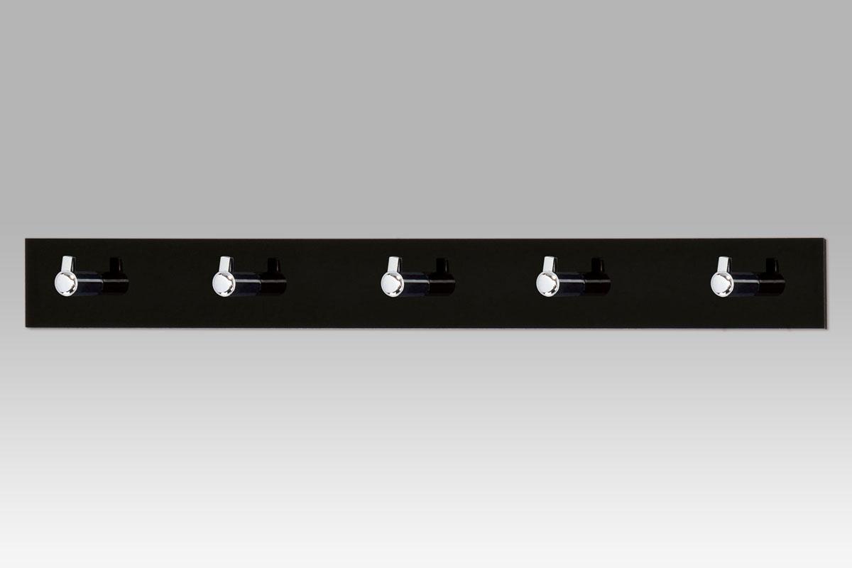 Smartshop Nástěnný věšák - 5 háčků, černý akrylát / chrom, VGC3503-5 BK
