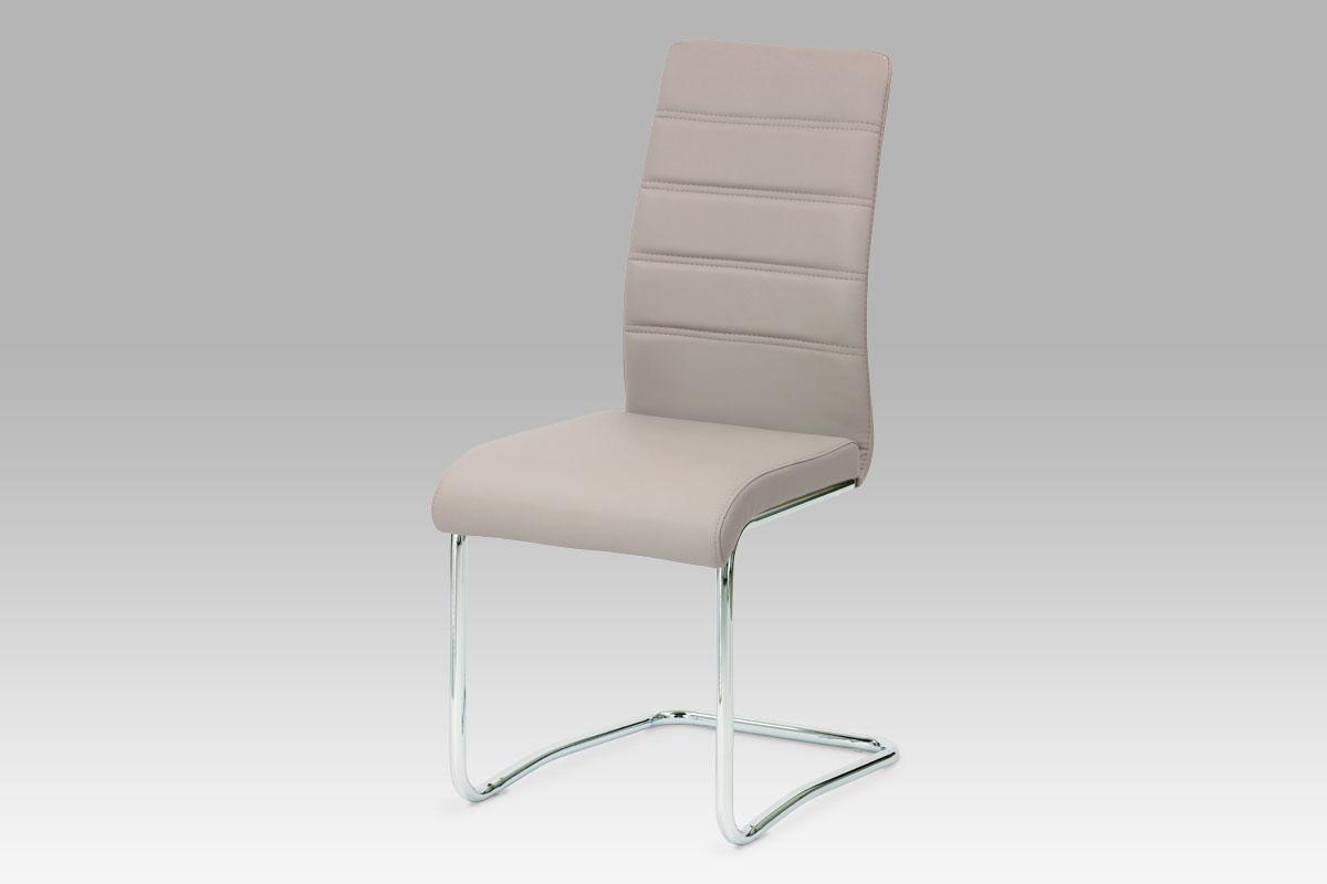 Autronic Jídelní židle, koženka lanýžová/chrom, HC-646 LAN