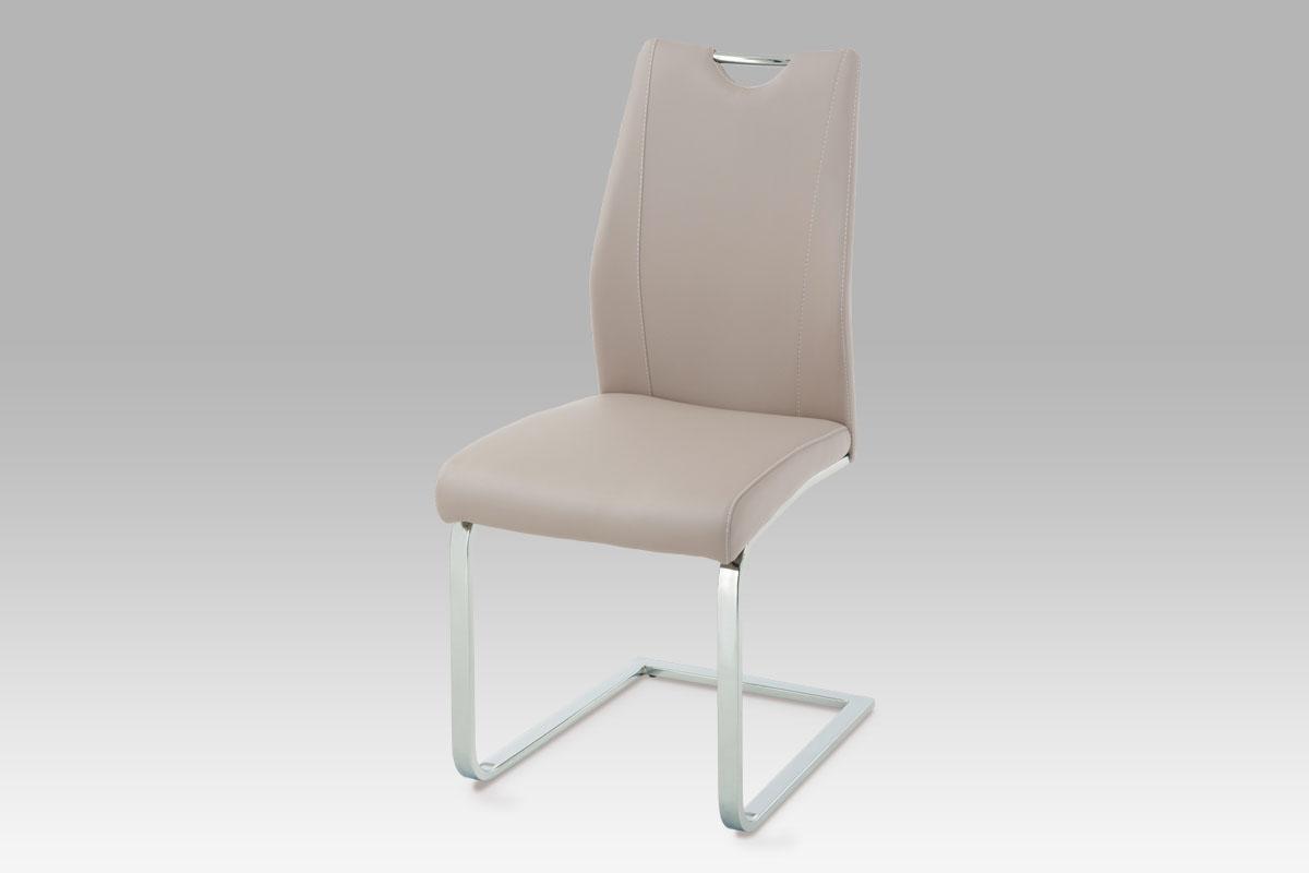 Autronic Jídelní židle, koženka lanýžová / chrom, HC-025 LAN