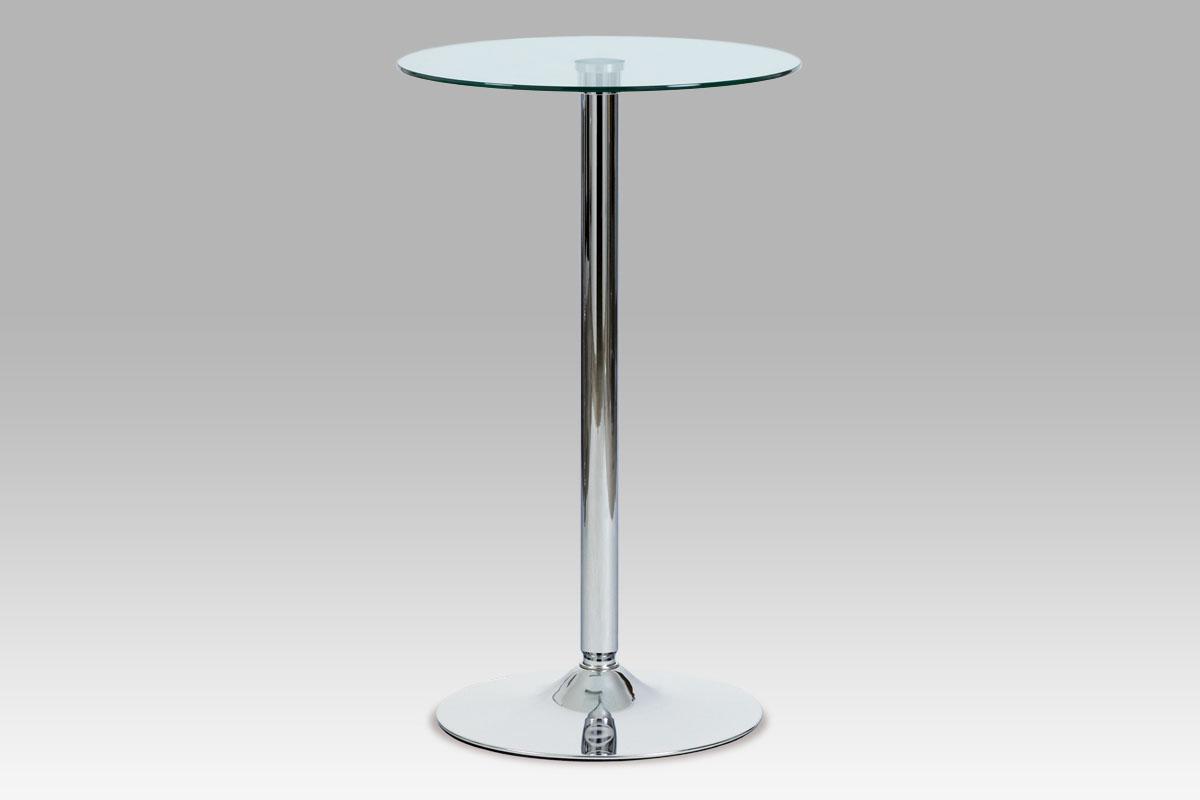 Autronic Barový stůl AUB-6070 CLR průměr 60 cm - čiré sklo/chrom
