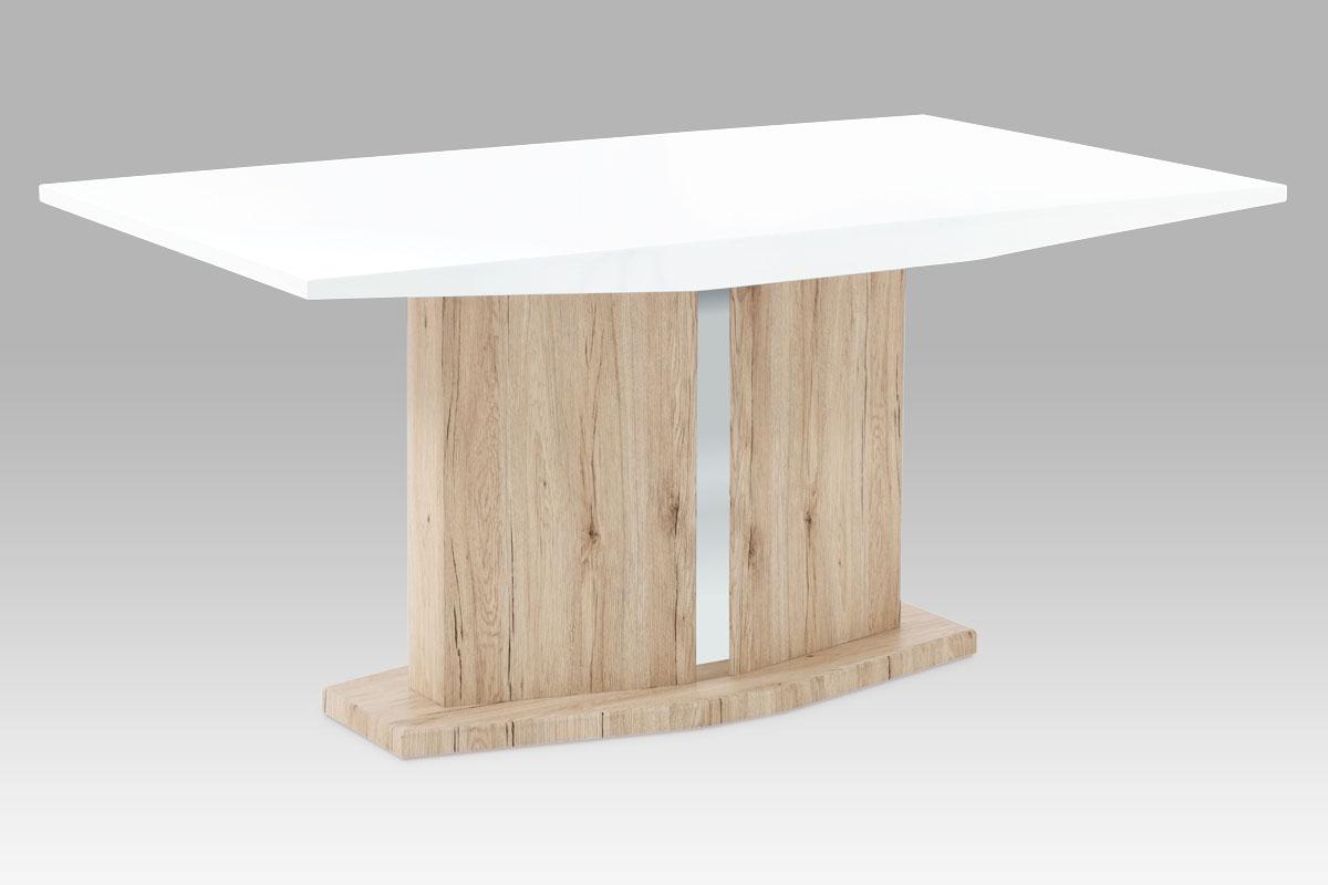 Smartshop Jídelní stůl 160x90, vysoký lesk bílý / san remo, SAT-2013 WT