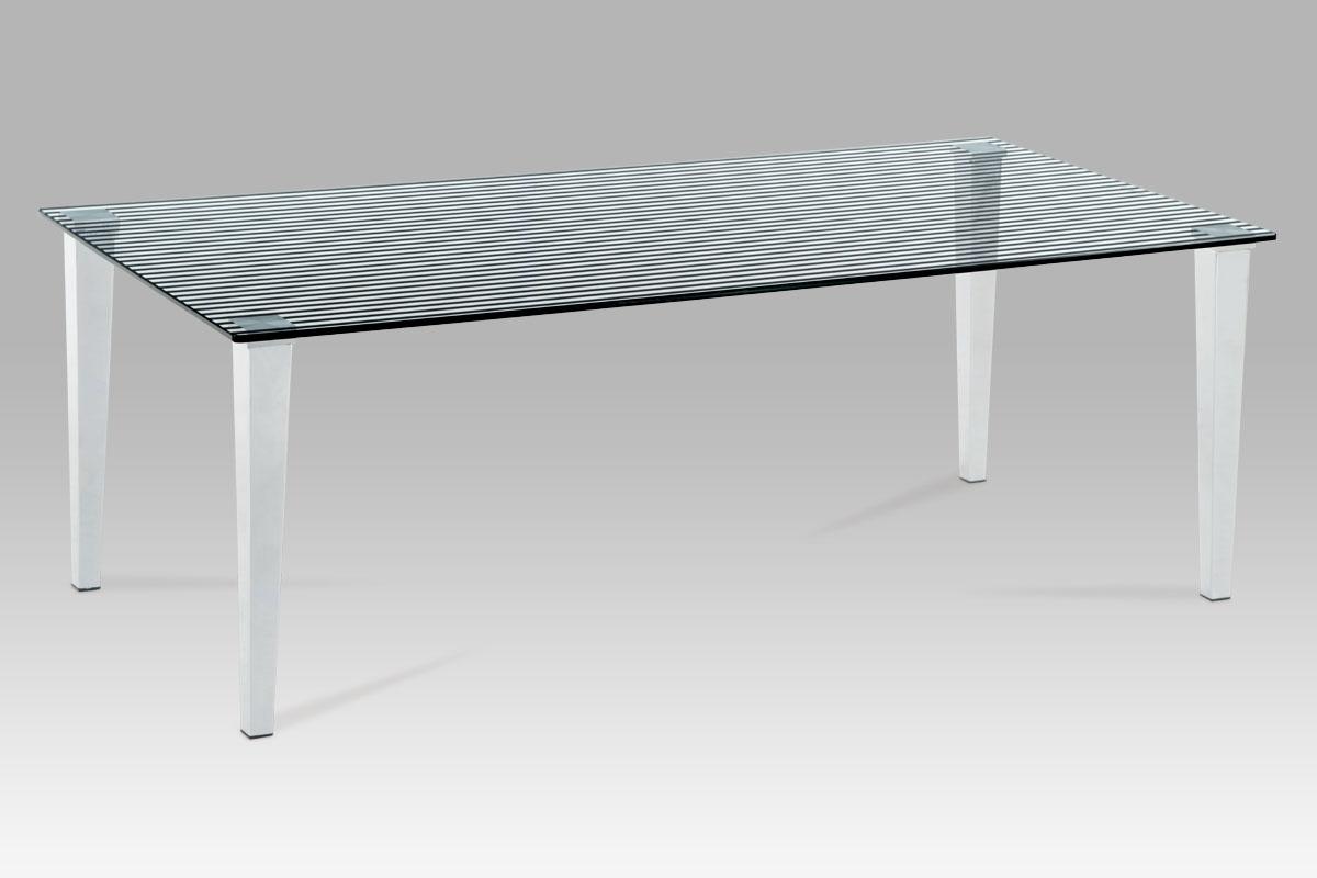 Autronic Konferenční stolek 120x60x41, čiré sklo s potiskem / chrom, GCT-525 BK