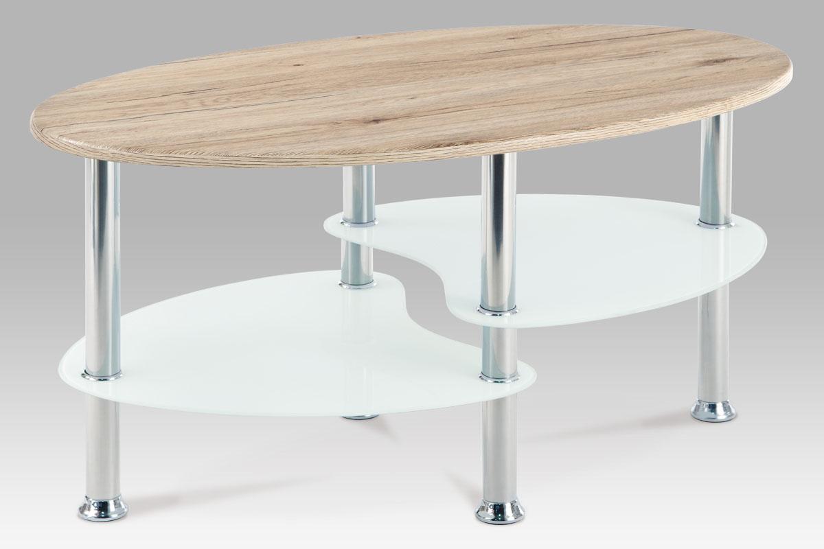 Autronic Konferenční stolek, san remo / bílé sklo / leštěný nerez, AHG-118 SRE