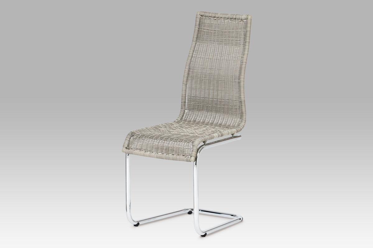 Autronic Jídelní židle chrom / UMĚLÝ ratan šedý, SF-832 GREY1