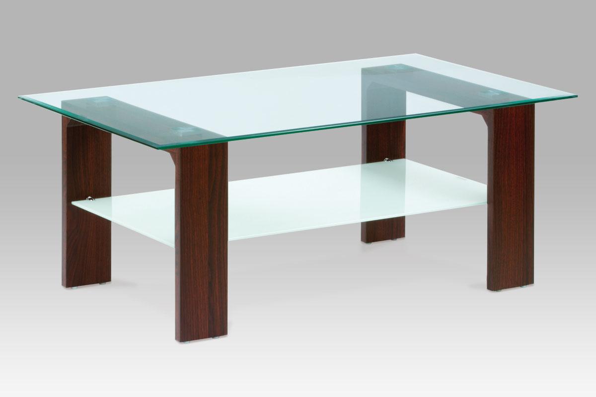 Autronic Konferenční stolek 110x65x45, čiré sklo / ořech, AF-2037 WAL