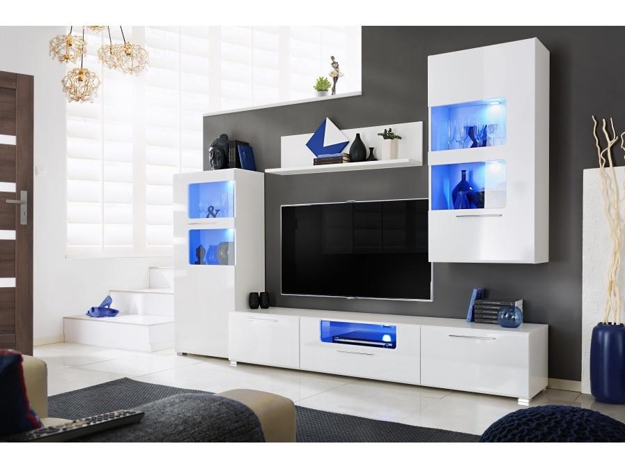 Smartshop Obývací stěna CORNER 1, bílý lesk