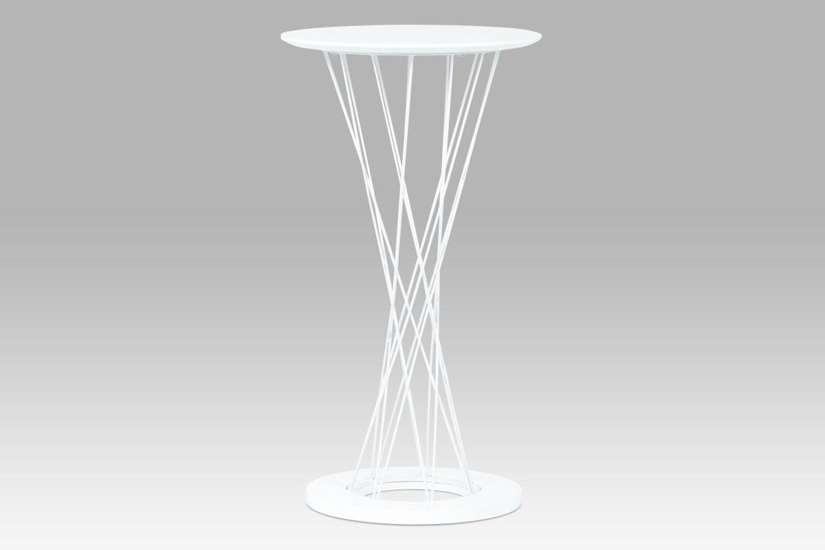 Autronic Barový stůl průměr 60x109, vysoký lesk bílý / bílá, AUB-9028 WT
