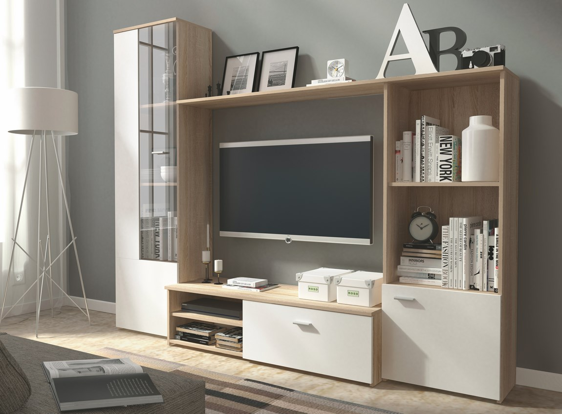 Smartshop Obývací stěna HUGO sonoma/bílá