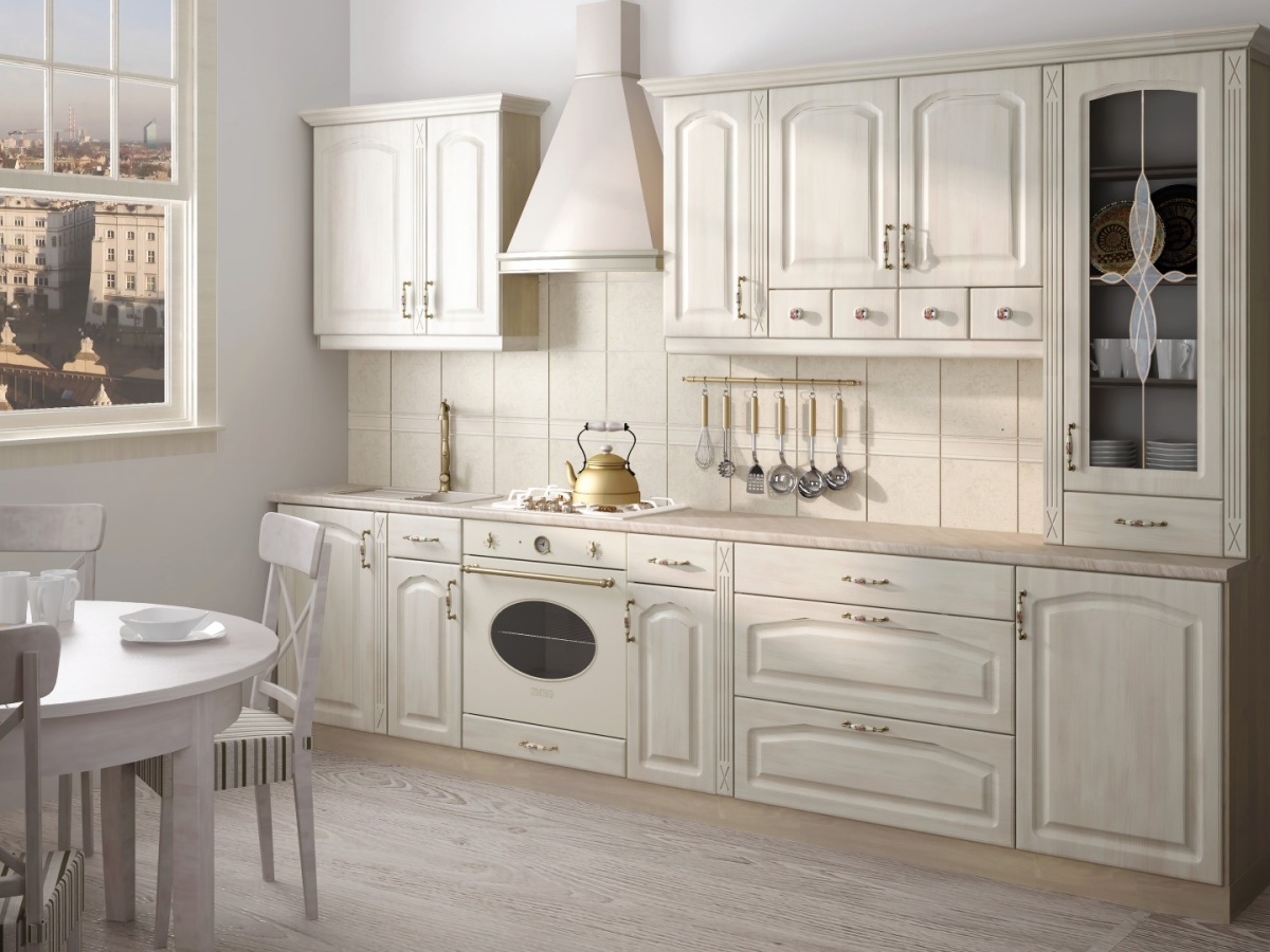 Extom Kuchyně GOLD RETRO 240/300 cm, VZOROVÁ SESTAVA, patina krém