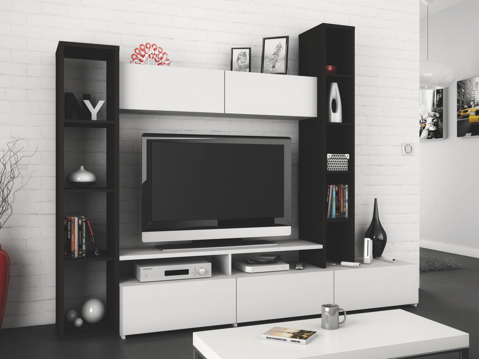 DEMEYERE WOLL, obývací stěna, bílá/eben