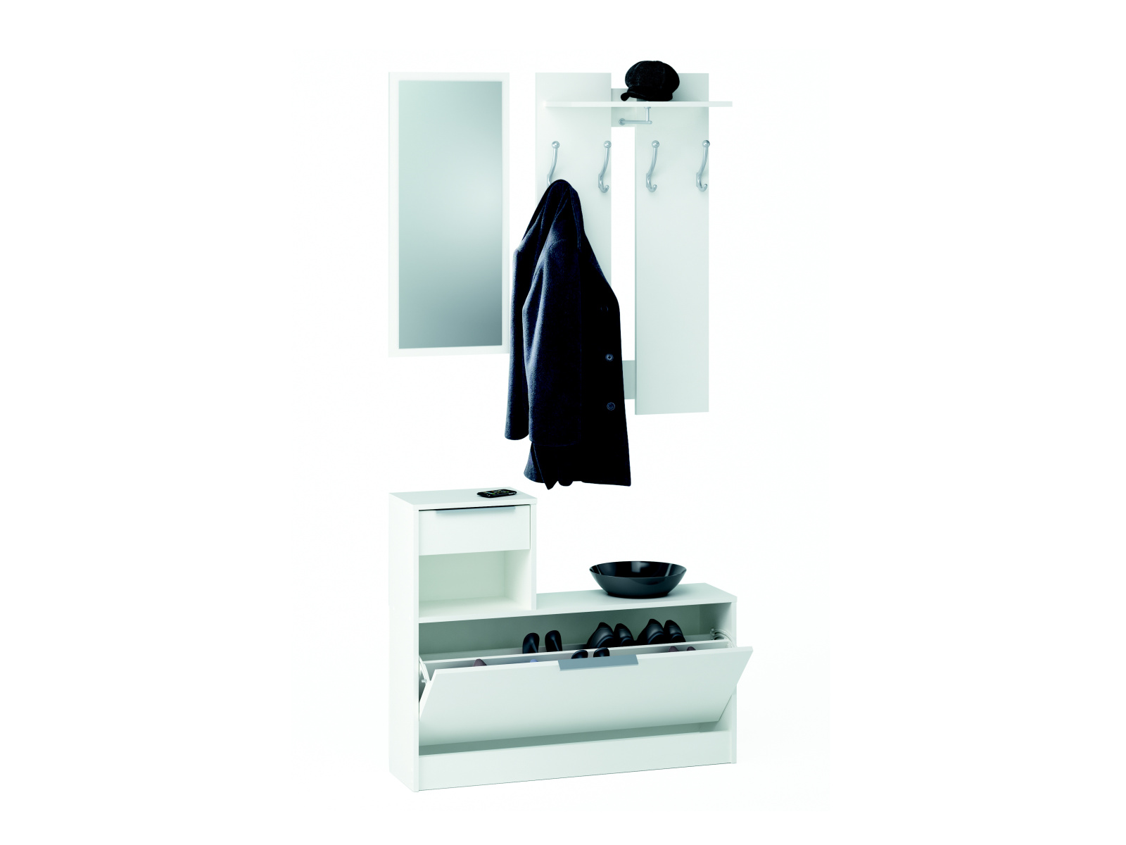 DEMEYERE CLOT, předsíňová stěna, bílá