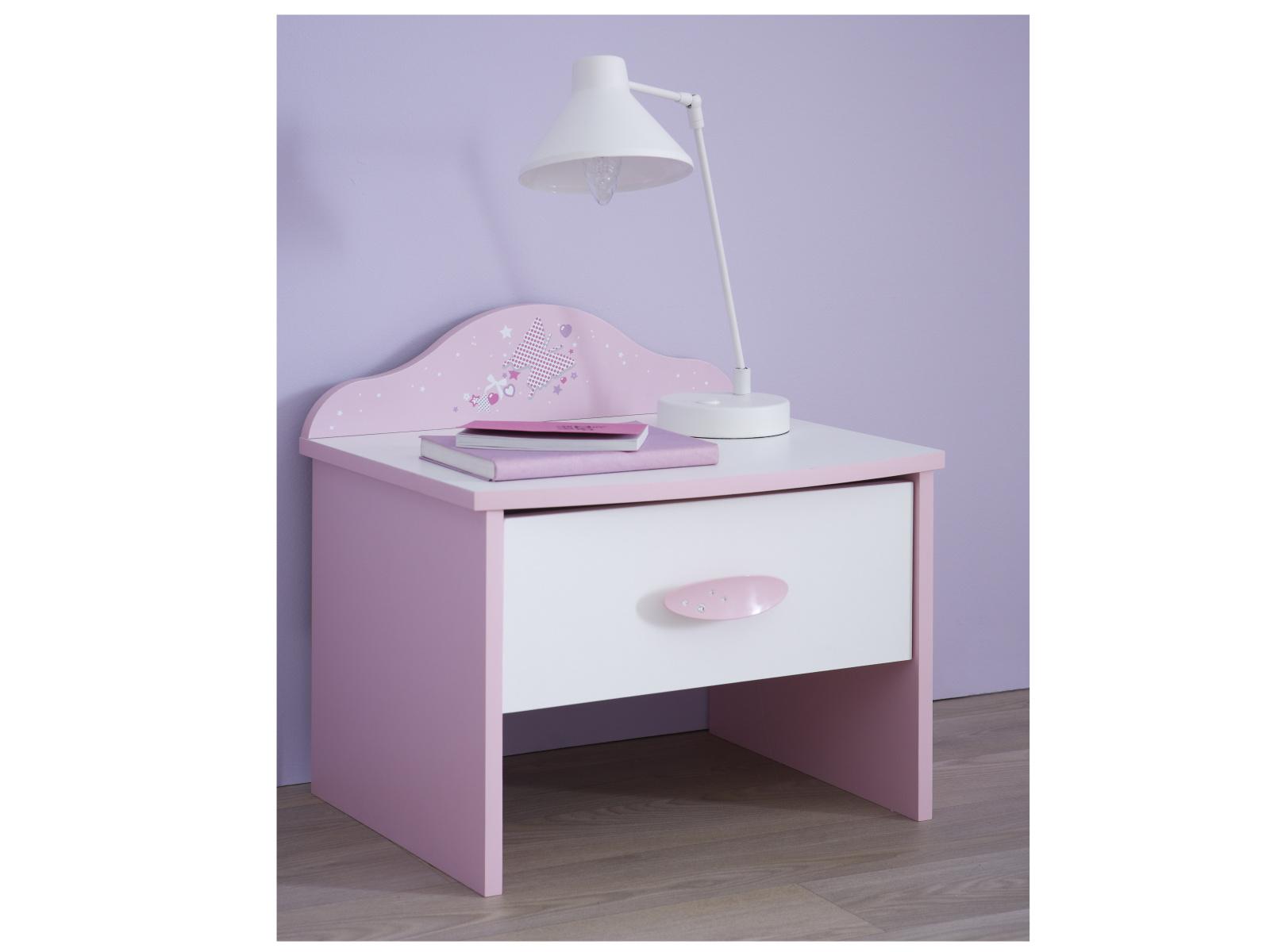 PAPILON, noční stolek, bílá/růžová