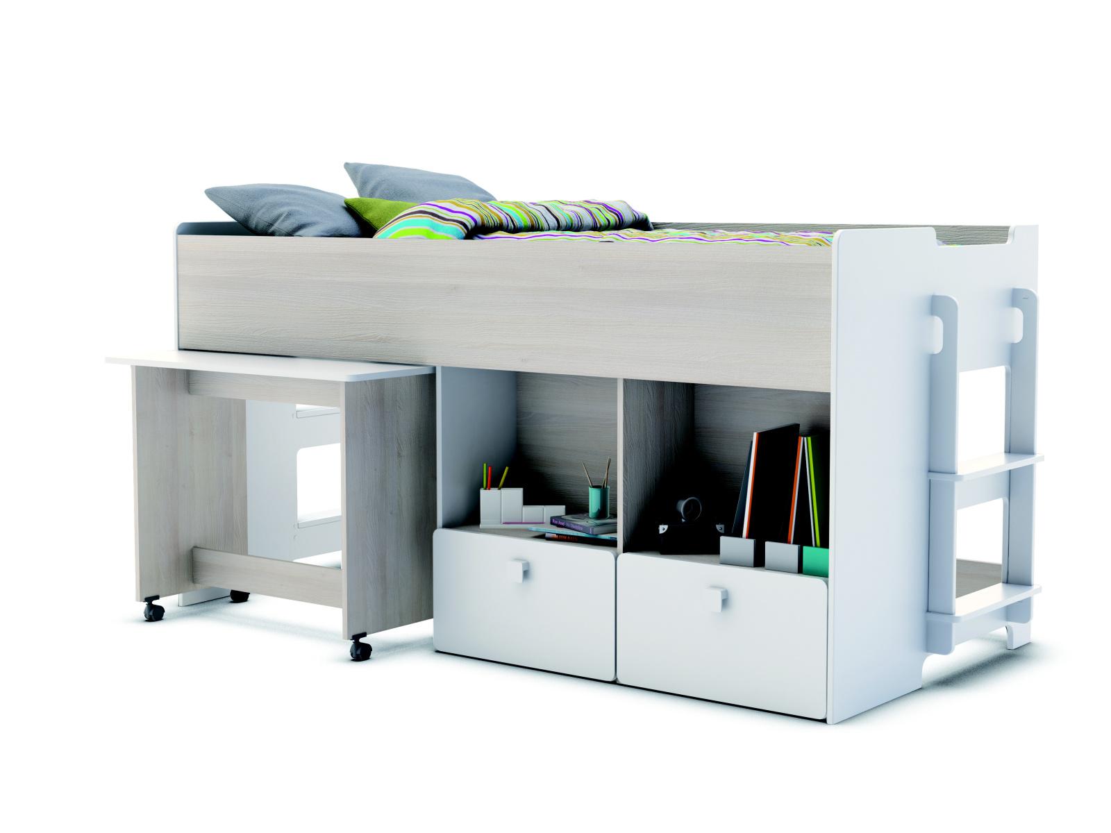DEMEYERE GAIME, vysoká postel 90x190 cm, akát/bílá