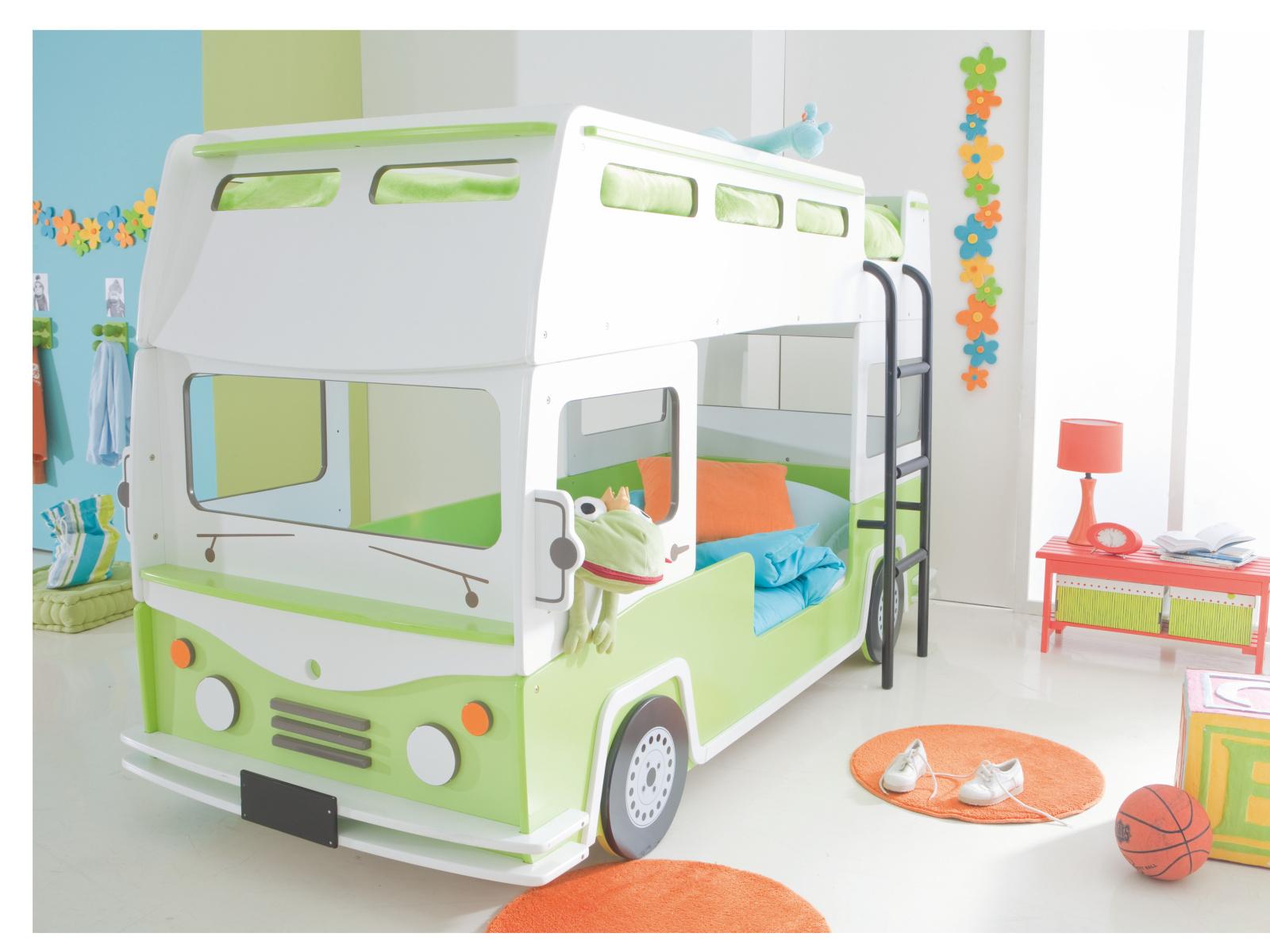 DEMEYERE BUS, patrová postel 90x190/200 cm, bílá/světle zelená