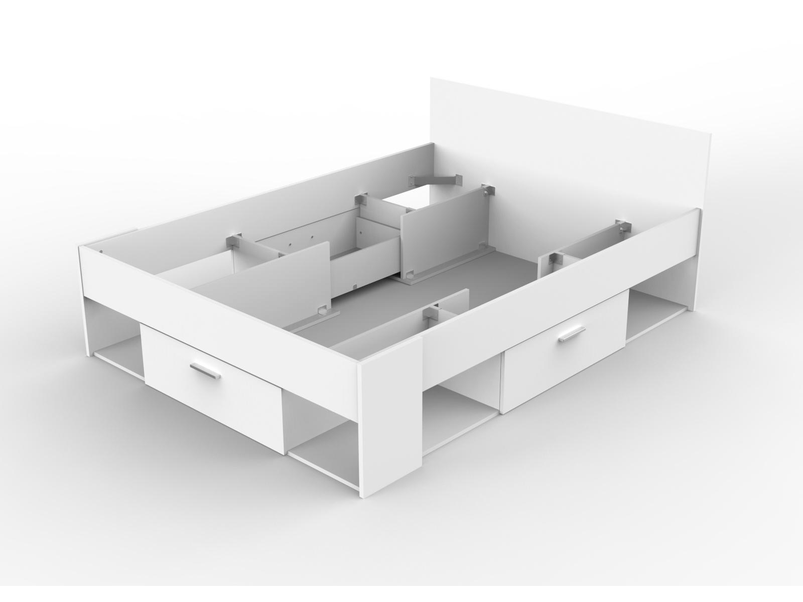 CHIKAGO, postel 140x190/200 cm, bílá