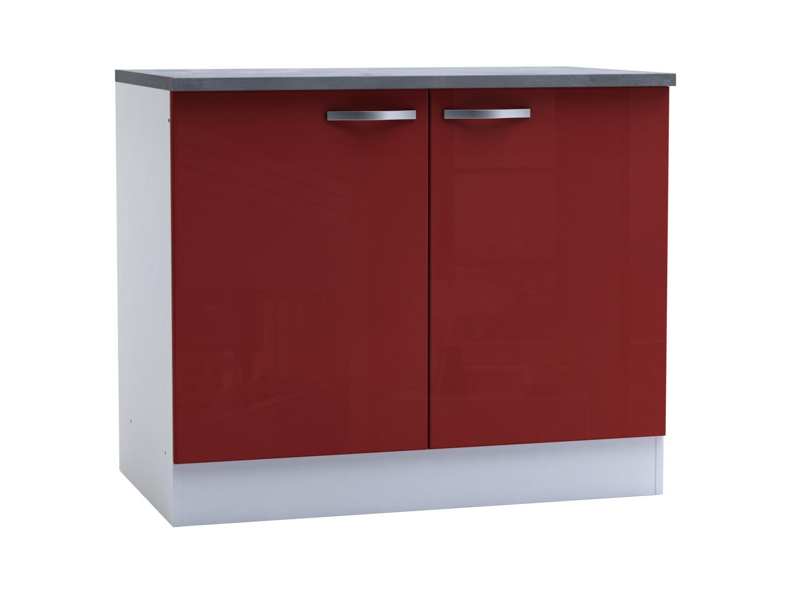 DEMEYERE CHERY, skříňka dolní 100 cm, bílá/červený lesk