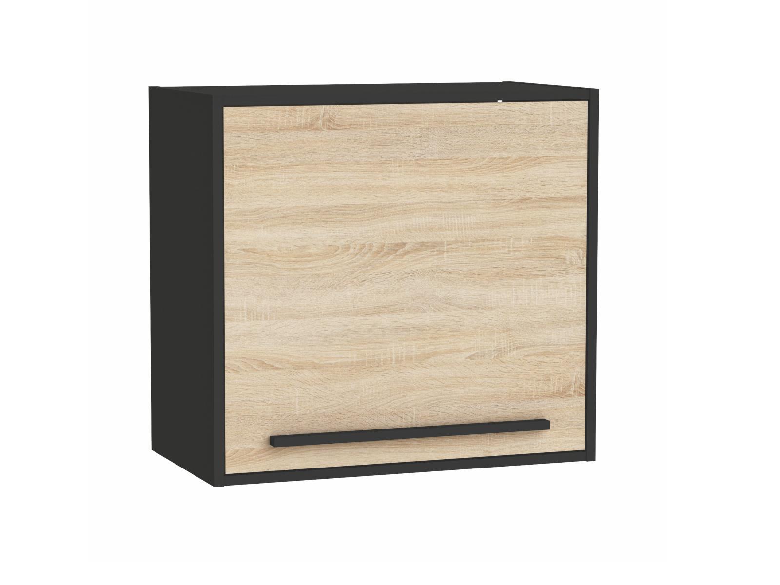 FEBRIK, skříňka horní 60 cm, dub sonoma/černá