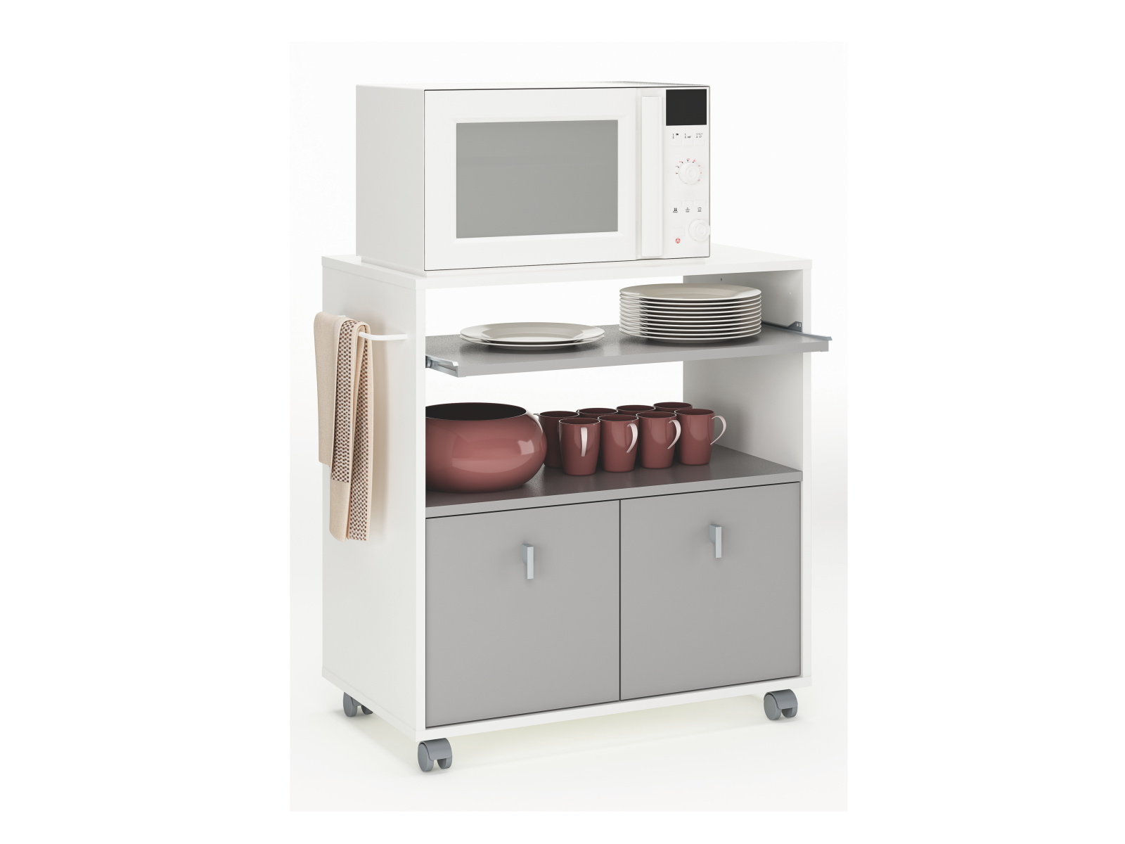 DEMEYERE APREGE, kuchyňská skříňka, bílá/čedič