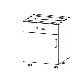 Smartshop EDAN dolní skříňka D1S 60 SAMBOX, korpus šedá grenola, dvířka béžová