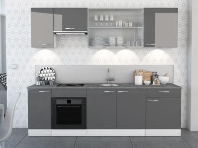 DEMEYERE Kuchyně SPACY 260 cm, VZOROVÁ SESTAVA, bílá/šedý lesk