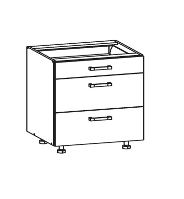 Smartshop TAFNE dolní skříňka D3S 80 SMARTBOX, korpus šedá grenola, dvířka bílý lesk