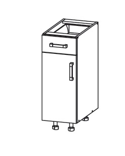 PESEN 2 dolní skříňka D1S 30 SAMBOX levá, korpus bílá alpská, dvířka dub sonoma hnědý