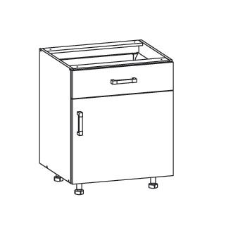 PESEN 2 dolní skříňka D1S 60 SAMBOX pravá, korpus bílá alpská, dvířka dub sonoma hnědý