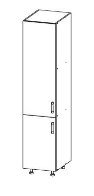 Smartshop PLATE potravinová skříň D40/207, korpus bílá alpská, dvířka dub wenge