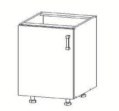 Smartshop PLATE dolní skříňka D45, korpus šedá grenola, dvířka dub bělený