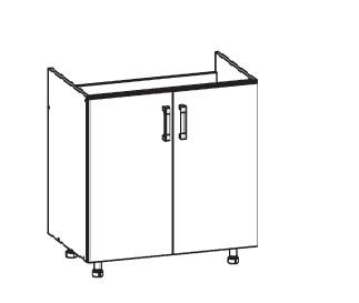 Smartshop PLATE dolní skříňka DK80 pod dřez, korpus šedá grenola, dvířka dub bělený