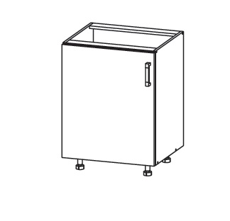Smartshop PLATE dolní skříňka D60, korpus šedá grenola, dvířka dub bělený