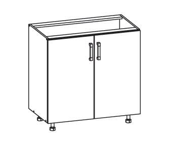 Smartshop PLATE dolní skříňka D80, korpus šedá grenola, dvířka dub bělený