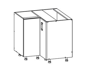 DOMIN dolní rohová skříňka DNW 90/82, korpus šedá grenola, dvířka bílá canadian