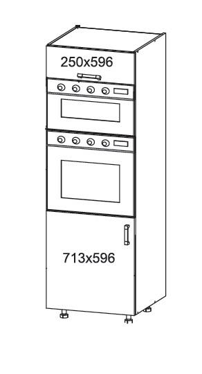 Smartshop IRIS vysoká skříň DPS60/207O, korpus šedá grenola, dvířka dub sonoma hnědý
