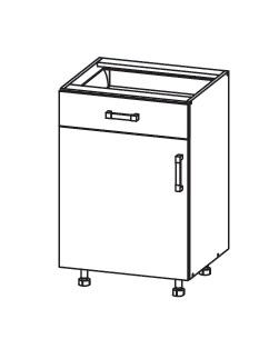 Smartshop APLAUS dolní skříňka D1S 50 SMARTBOX, korpus šedá grenola, dvířka dub bílý