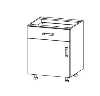 Smartshop APLAUS dolní skříňka D1S 60 SAMBOX, korpus šedá grenola, dvířka dub bílý