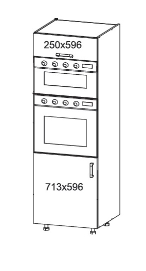 Smartshop APLAUS vysoká skříň DPS60/207O, korpus šedá grenola, dvířka dub bílý